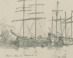 John A. Case - 1992 Graphite Drawing, Three graphite Studies of Boats