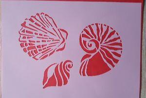 1804 Pochoirs coquillages vintage emboutissage Stencil Stickers muraux la fresque  </span>