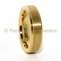 6mm Tungsten Wedding Band Engagement Ring Brushed Step Beveled 14k Gold Ip
