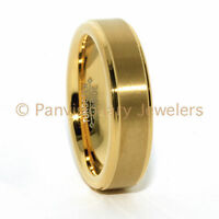 6mm Tungsten Wedding Band Engagement Ring Brushed Step Beveled 14k Gold Ip