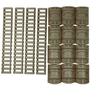 """Tactical Rail Cover Set - 12 PCS Snap on Covers + 4 PCS 7"""" Ladder Covers"""