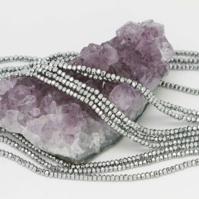 100 pcs 3x2mm Chinese Crystal Glass Beads Faceted Rondelle Metallic Silver