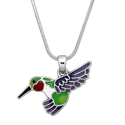 "Silver Tone Enameled Hummingbird Charm Pendant Necklace 17/"" Chain Bird Theme"