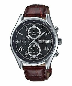 BEM-512L-1A-Black-Casio-Men-039-s-Watches-Leather-Band-Chronograph-Beside-New