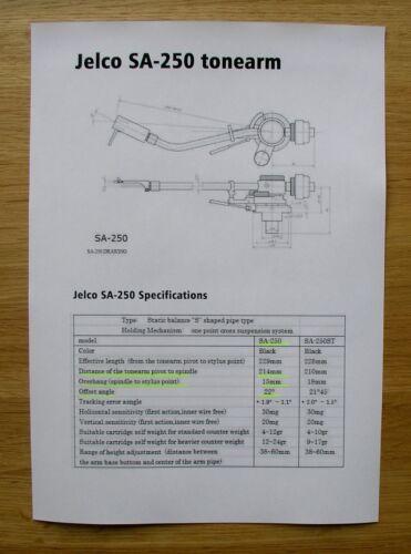 Jelco SA-250 Custom Designed Tonearm Cartridge Stylus Alignment Protractor