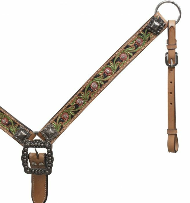 Showman FLORAL Tooled PAINTED Light Oil Leather Belt Style BREAST COLLAR