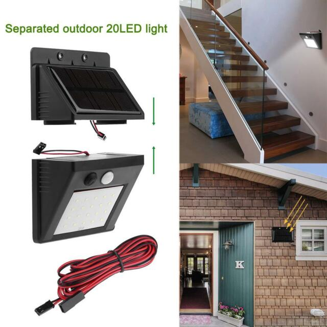 Waterproof Solar 20LED Split Outdoor Garden Wall Light Motion Sensor Night Lamp