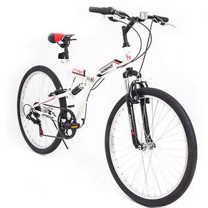 26-034-Folding-Mountain-Bike-7-Speed-Bicycle-Shimano-Suspension-Fork-Sports-White