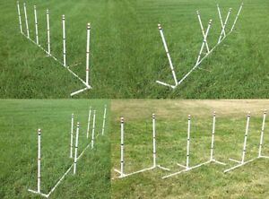 Set of 6 4-in-1 Dog Agility Weave Poles Straight Weave-o-Matic Channel or 2x2