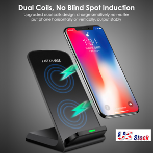 Accessories & Parts Fashion Style 10w Portable Vertical Double Coil Wireless Charger With Led Indicator Fast Charge For Qi Standard Smart Mobile Phone The Latest Fashion