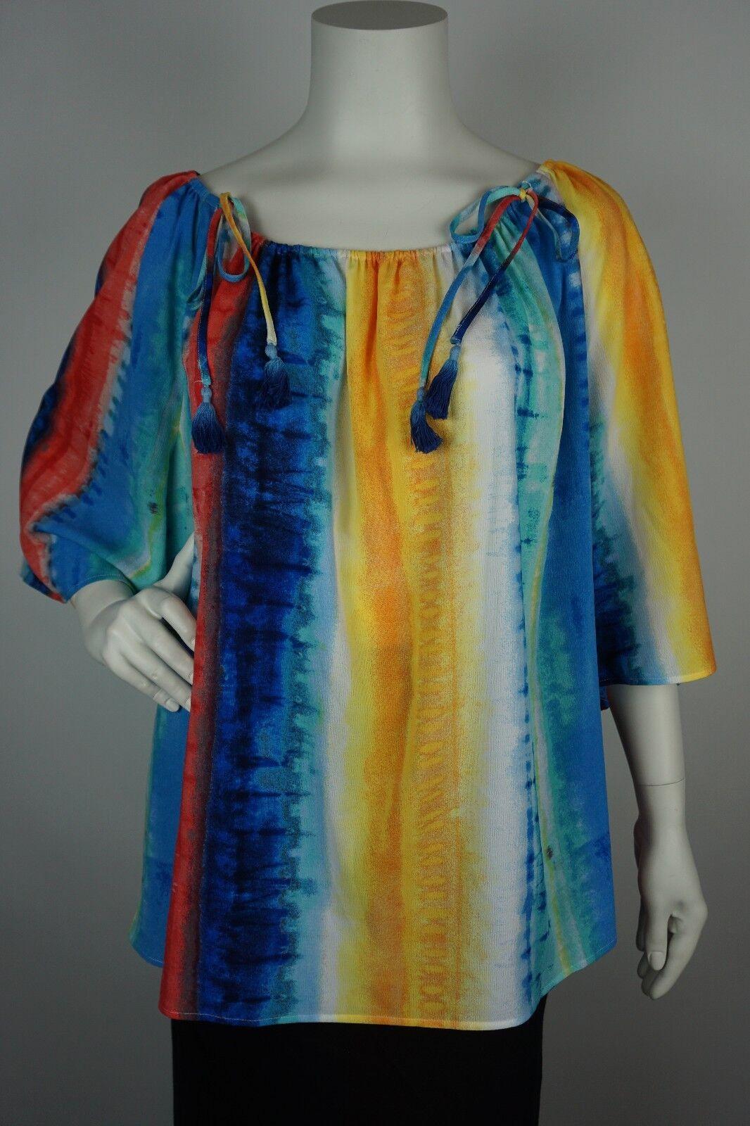 Rafaella Womens Peasant Blouse Shirt Top Bright colorful Plus Size 3X (WW29)