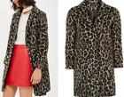 Topshop Leopard Print Slim Fit Boyfriend Wool Biker Jacket Winter Coat 6 - 16
