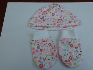 Tiny/prem baby pink set hat and anti scratch mittens size 2,5kg 5lbs brand new