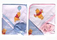 Disney Winnie The Pooh Infant Baby Bath Hooded Towel W Washcloth - Blue Pink