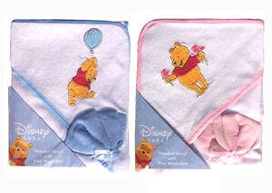 Disney Winnie The Pooh Infant Baby Bath Hooded Towel w Washcloth - BLUE PINK NEW