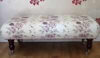 A Quality Long Footstool In Laura Ashley Clarissa Amethyst Fabric