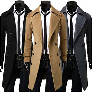 Men's Slim Stylish Trench Coat Winter Long Jacket new Double Breasted Overcoat