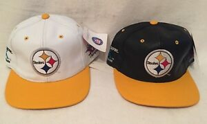 Pair-Vintage-NFL-Super-Bowl-Champions-PITTSBURGH-STEELERS-Leather-Hat-Snapback