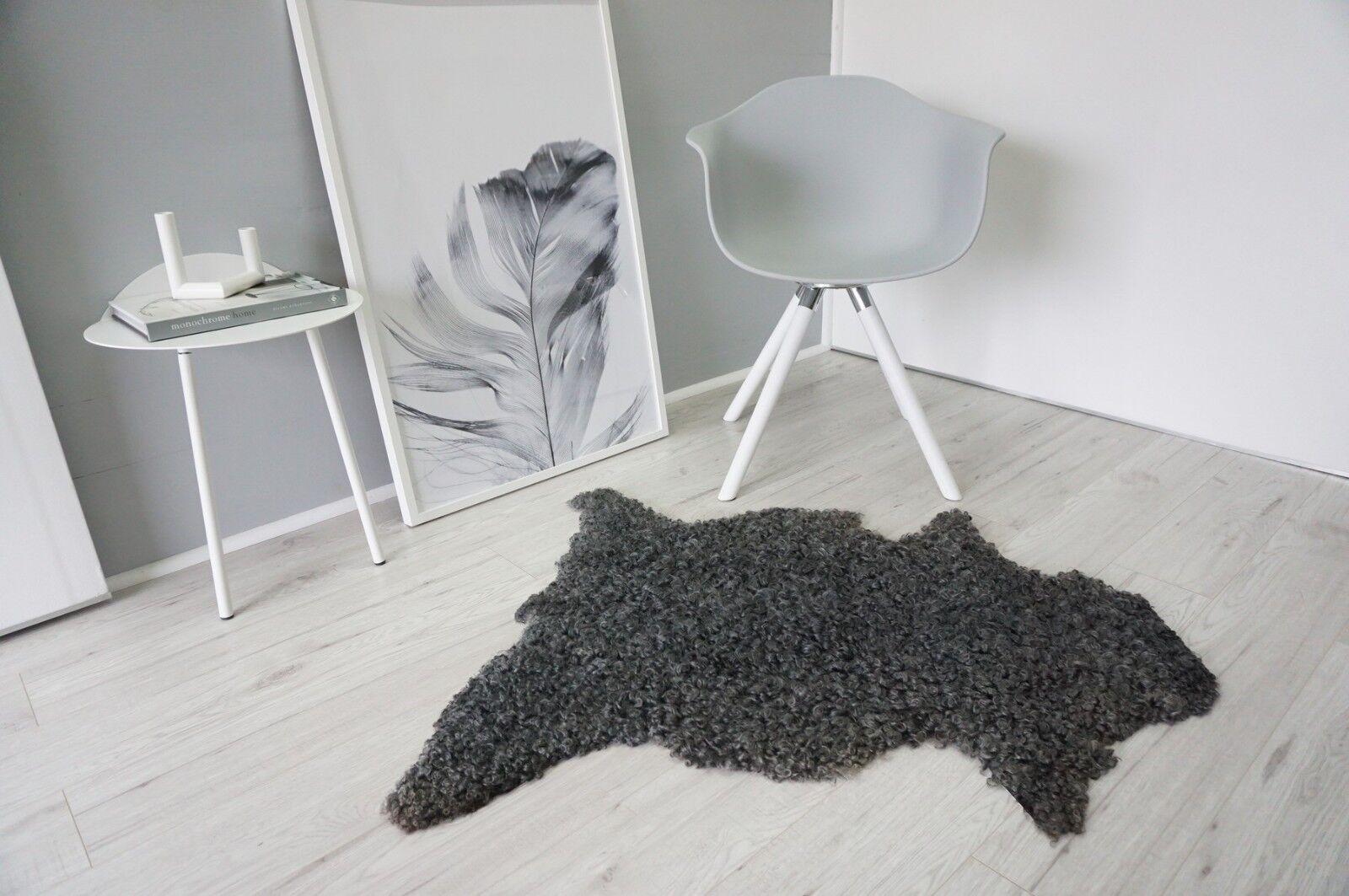 Véritable Suédois Gotland En Peau Curly De Mouton Tapis Curly Peau gris argenté Ash Laine-SG 178 553009