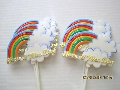 Floral Picks HAVE A NICE DAY Beautiful Rainbow and Cloud Pk//6!