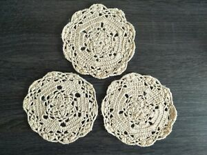 Hand-Made-Crocheted-Doilies-Beige-Set-of-3-Small-Doilies-11-CM-Made-in-Australia