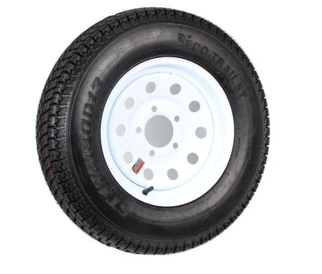 2-Pack Bias Ply Trailer Tire 175//80D13 LRC 13x4.5 4 Lug White Modular Wheel Rim