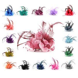 Haarblumen mit Feder Perle Fascinator Ansteckblume Brosche Clip Lafairy