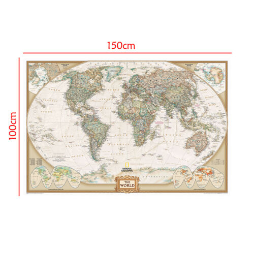 World Wall Map Educational Poster Home Office School Prints Decor Unframed P15