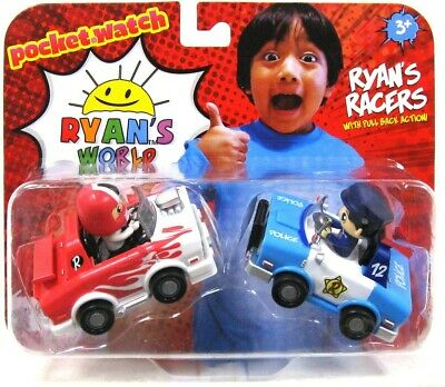 """Ryan/'s World Police Car /& Hot Rod 3/"""" Racers 2 Pack Pull Back Action"""