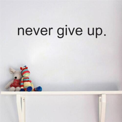 Never Give Up Gym Office Home Rome Inspiration Quote Wall Art Stickers Decals C