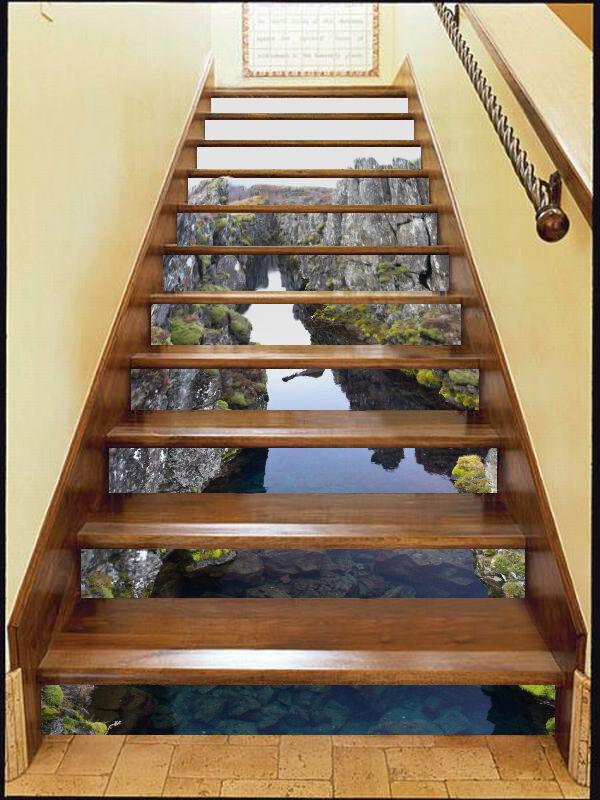 3D Hills River 75 Stair Risers Decoration Photo Mural Vinyl Decal Wallpaper CA