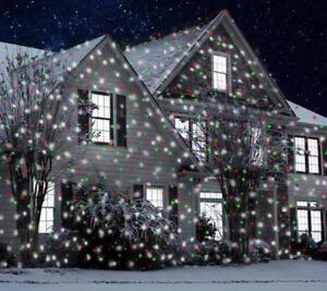 Detalles De Rojo Blanco Verde Animado Láser Luz Proyector Exterior Decoración Navidad Nieve