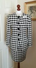 Authentic Christian Dior Vintage Houndstooth Dress Suit Jacket Skirt FR36 UK8