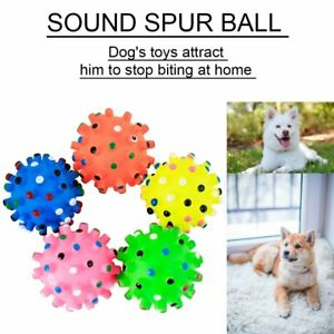 Pet Dog Squeaky Fetch Ball Toy Bite Resistant Squeeze Chew ToySmall Spiky Ball