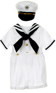 Baby Boy Navy Sailors White Short Suit Satin Wedding Christmas Party 0-24M-4T-1