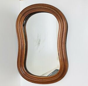 "26""x17"" Antique Holsten & Hammer Oval Wood Frame Mirror (Pat. 1862)"