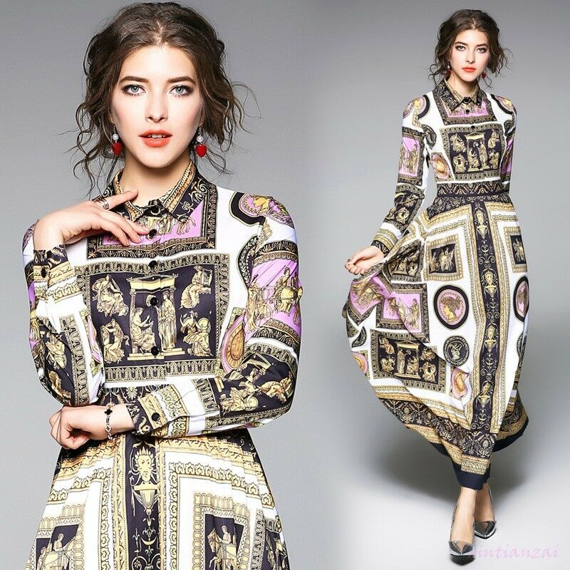 18 hot ladies Occident spring fashion Modern Vintage printed long dress New Show