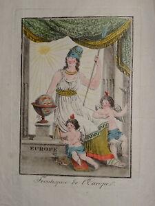 Gravure-COSTUME-COULEUR-VOYAGE-ALLEGORIE-EUROPE-FEMME-MINERVE-ANGE-1806