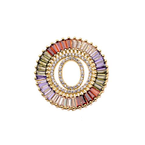 18K Colorful CZ Zircon Lettre Perles À faire soi-même Bracelets Collier Pendentif Bijoux Cadeau