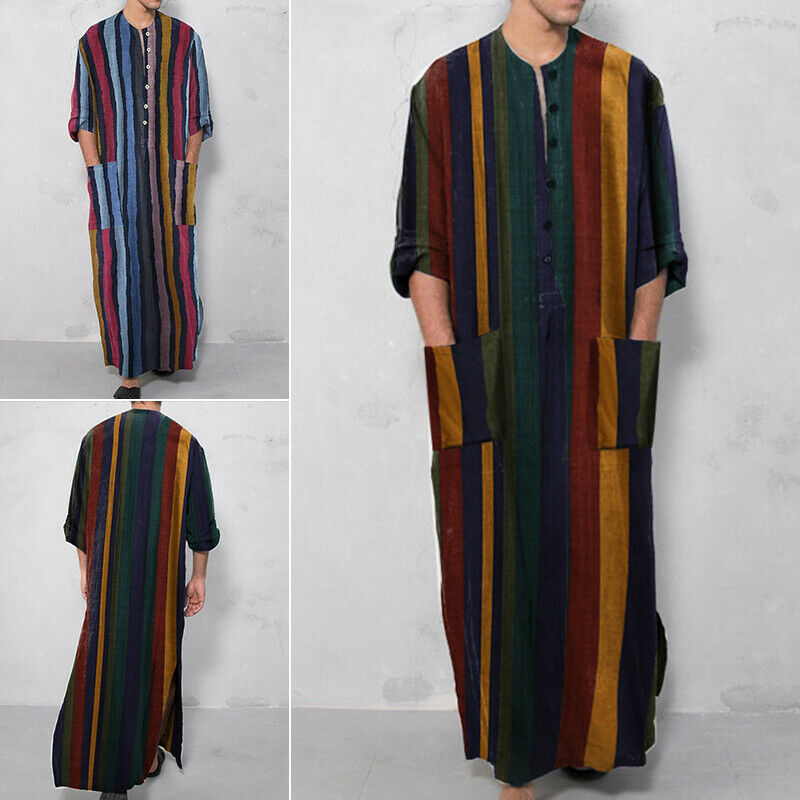 Men's Muslim Long Robe Long Sleeve Round Neck Middle East Kaftans Casual Dress
