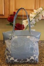 Coach LAURA Signature Tote in Silver Blue #F18335 (pu170