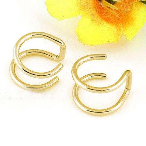 Double Simple Bone Earrings Men Cartilage Eardrop Women Cuff Clip-on Ear Clip