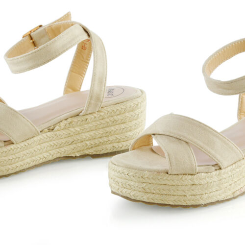 Womens Cross Strap Platform Wedge Heel Sandals Ladies Espadrilles Shoes Size 3-8