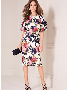 Bold Floral Print, Fully Lined Shift Dress with Statement Frilled sleeve Detail