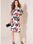 thumbnail 1 - Bold Floral Print, Fully Lined Shift Dress with Statement Frilled sleeve Detail