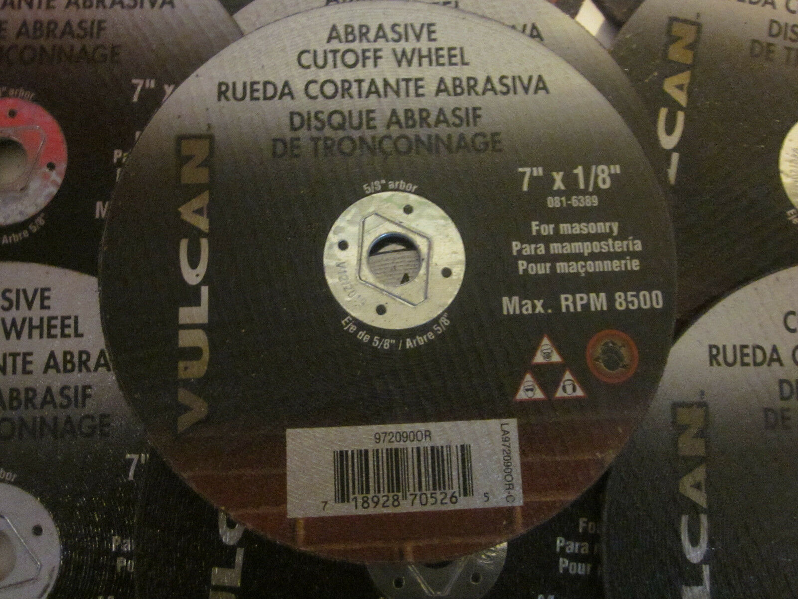 Vulcan 972090or Abrasive Cutoff Wheel 7x1//8 Vulcan 972090or Abrasive Cutoff Wheel 7x1//8