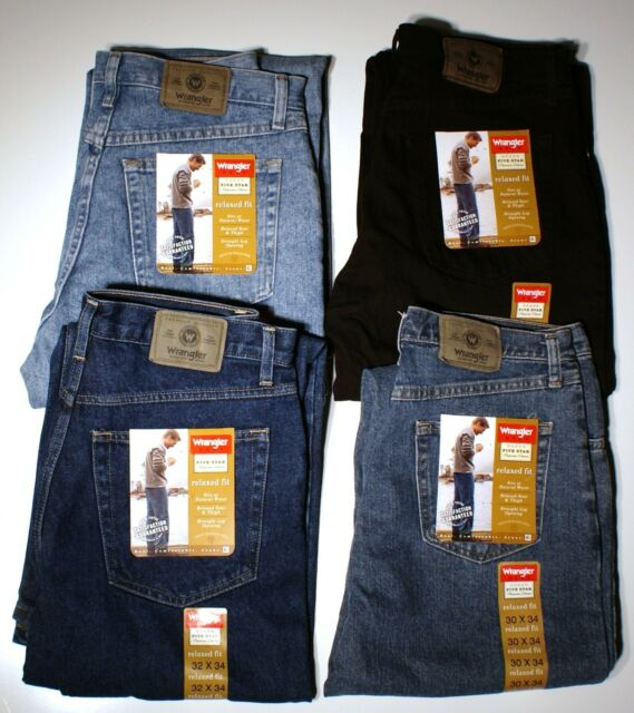Tag Blue W 38 X 30 New Wrangler 5 Star Relaxed Fit Straight Leg Work Jeans