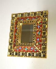 Gold/Gilt & Painted Glass Wall Mirror w/ Small Square Mirror Glass Inserts