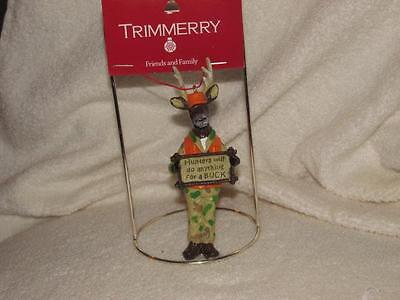"""Hunters will do anything for a Buck"""" Deer with Sign Christmas Ornament Resin New"""