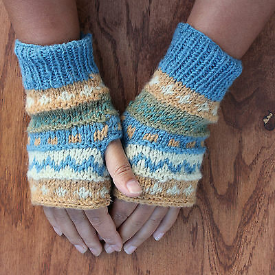 New Multi knit Color infused Fingerless gloves-6054